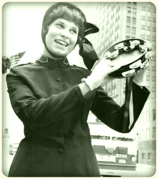 Photo-chicago-salvation-army-cadet-playing-tambourine-in-parade-on-michigan-ave-at-south-water-1962